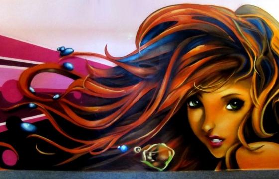 interier graffiti obličej
